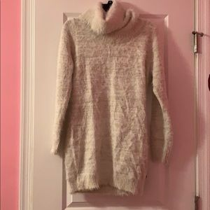 White Gold Fuzzy Off Shoulder Sweater Dress